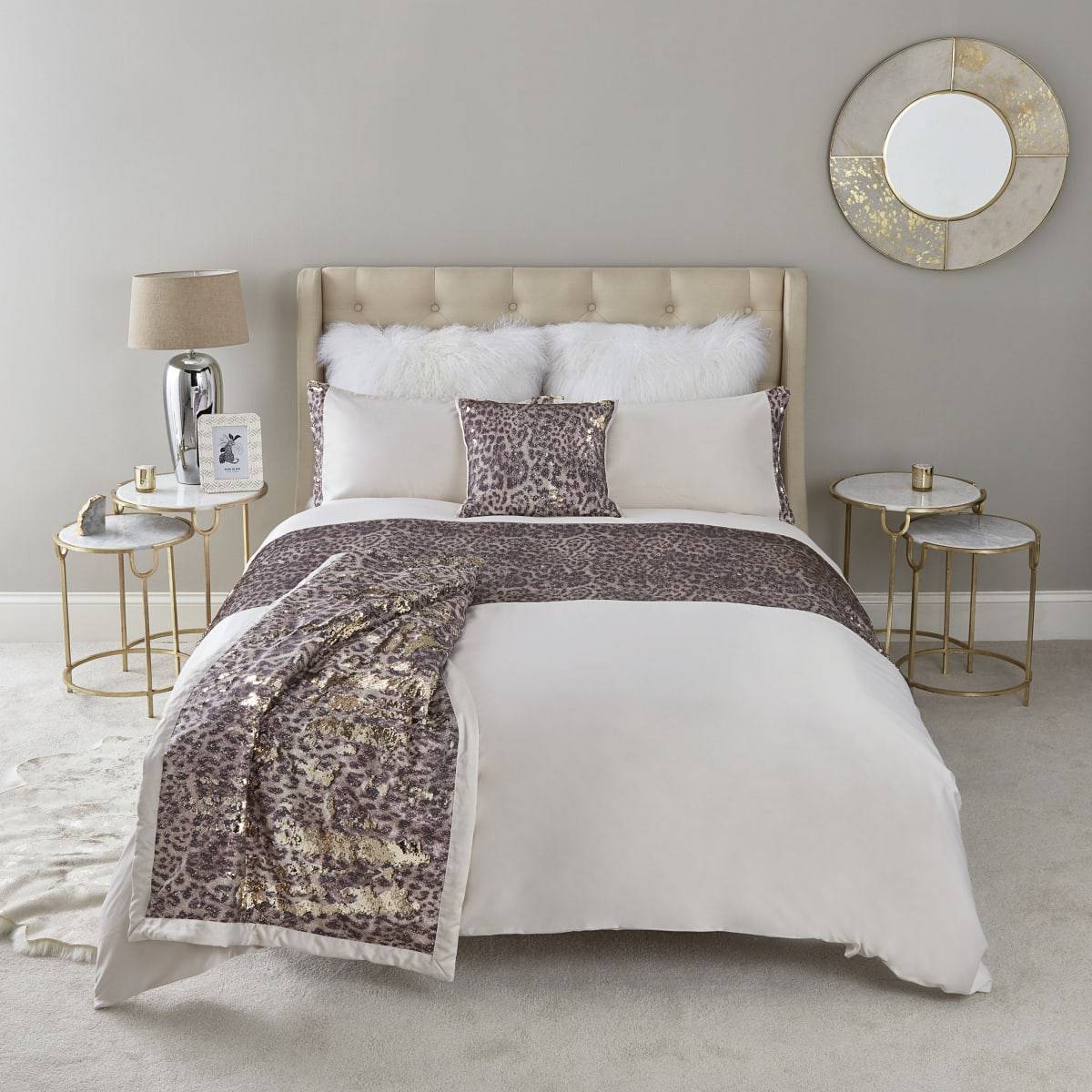 Cream leopard print sequin king duvet bed set