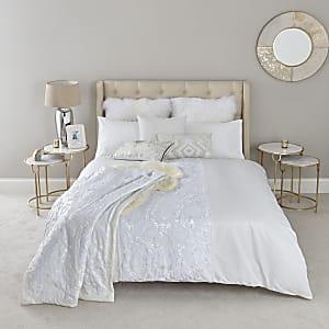 Weißes Bettdecken-Set mit Pailletten