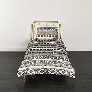 Parure de lit simple en jacquard motif aztèque crème