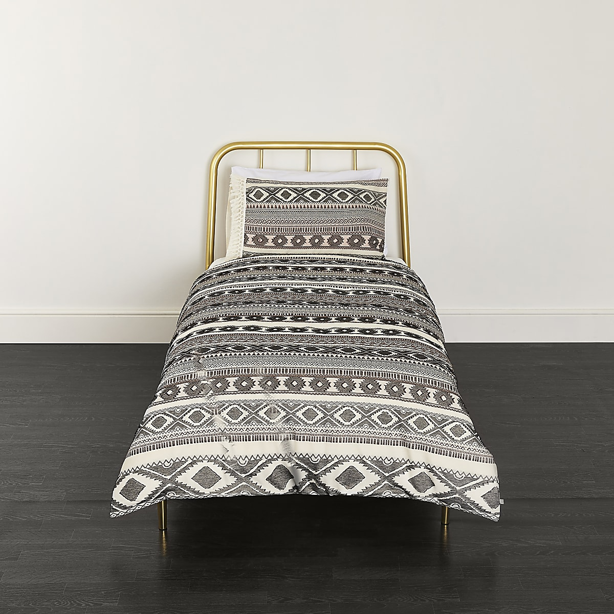 Cream Aztec jacquard single duvet bed set