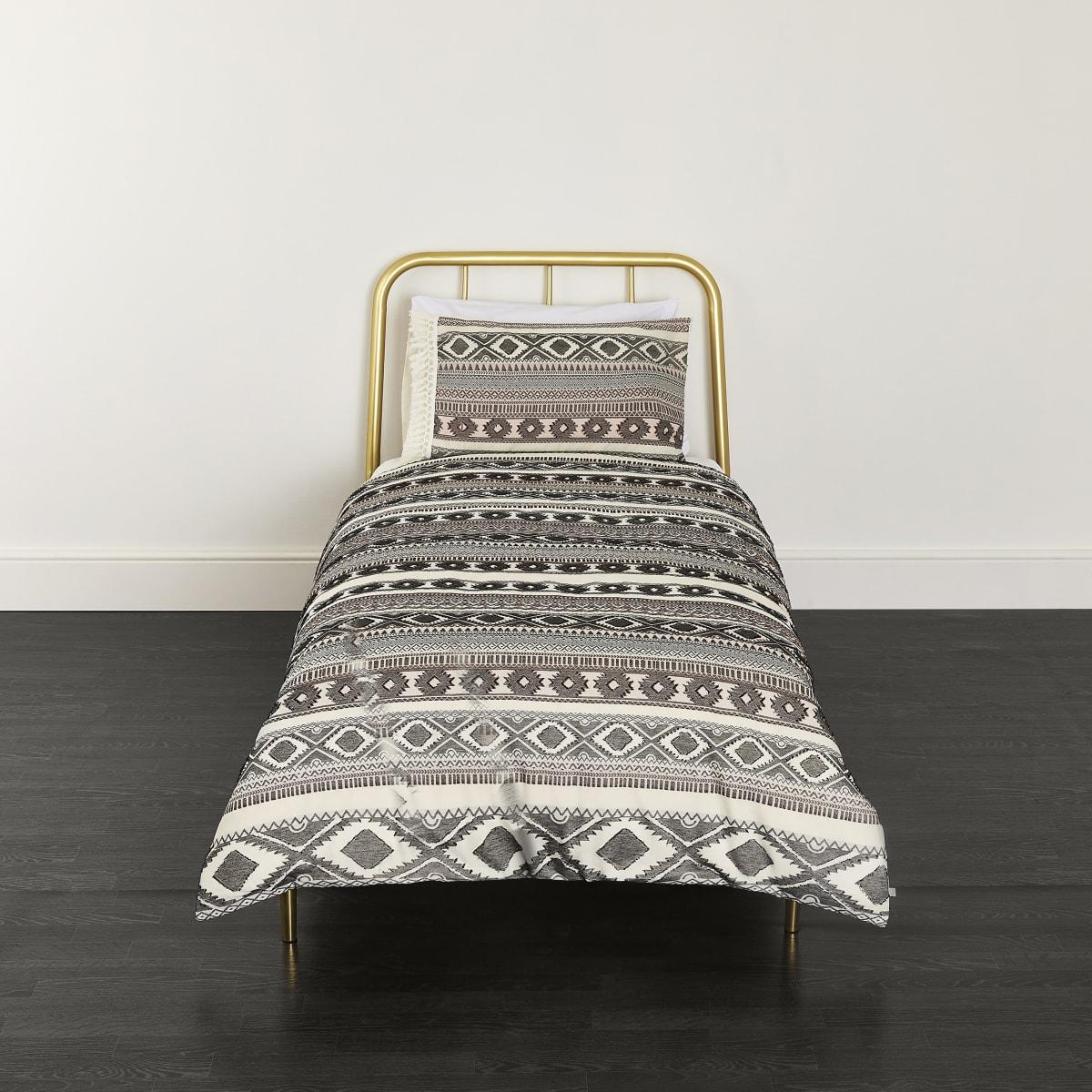 Cream Aztec jacquard single duvet bed set