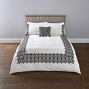 White geo embroidered king duvet bed set