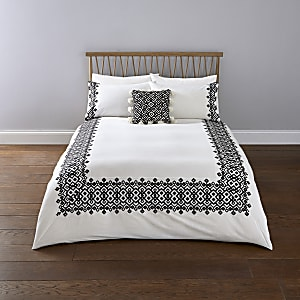 Parure de lit super king brodée à motif géométrique blanche