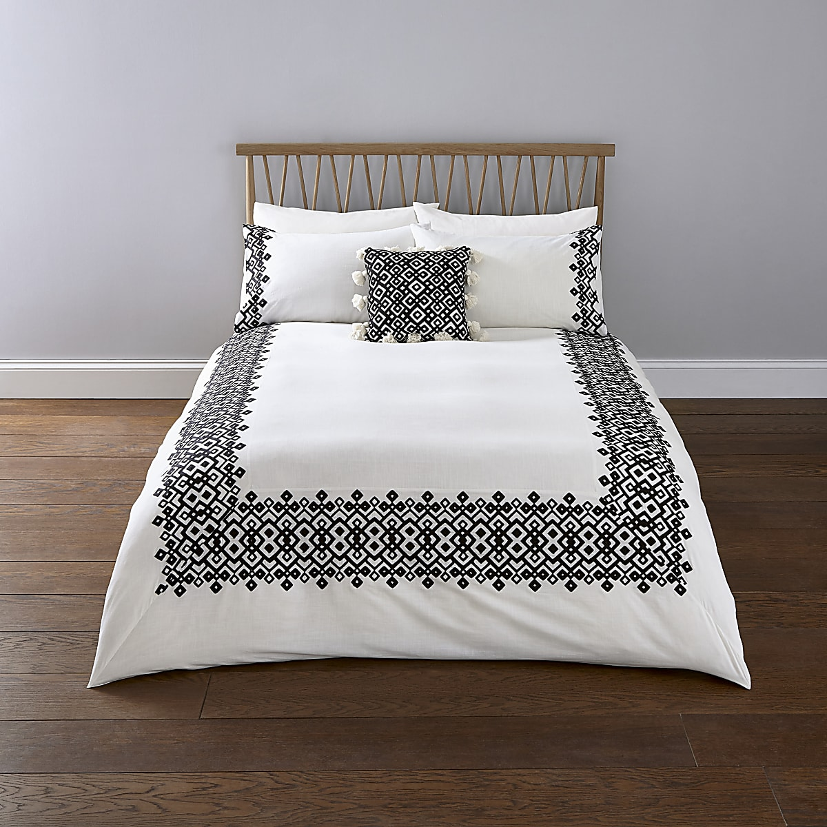 Weißes Superking-Bettdecken-Set mit Stickerei