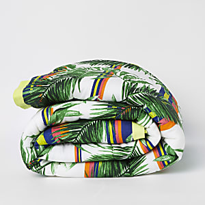 Green jungle print double bedspread