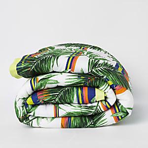 Dessus-de-lit imprimé jungle vert pour lit double