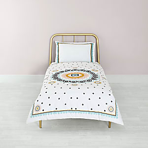 Cream embroidered single duvet bed set
