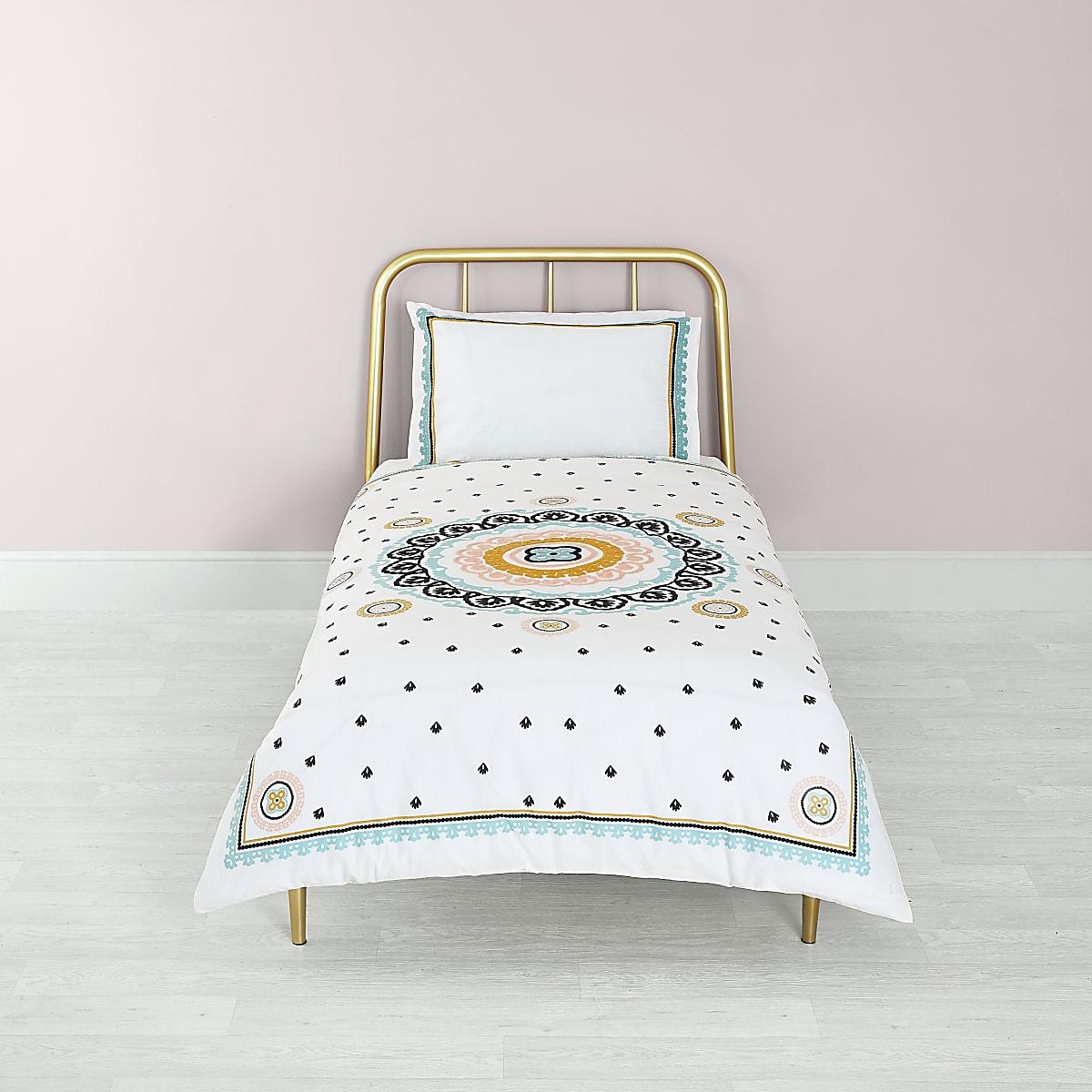 Cream embroidered single duvet bed set