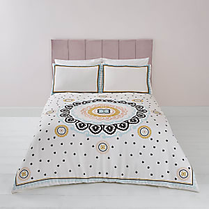 Cream embroidered double duvet bed set