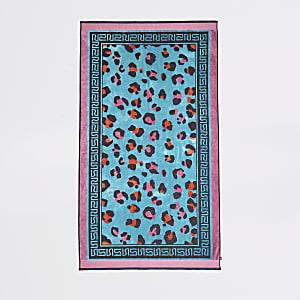 Serviette en jacquard motif léopard bleue