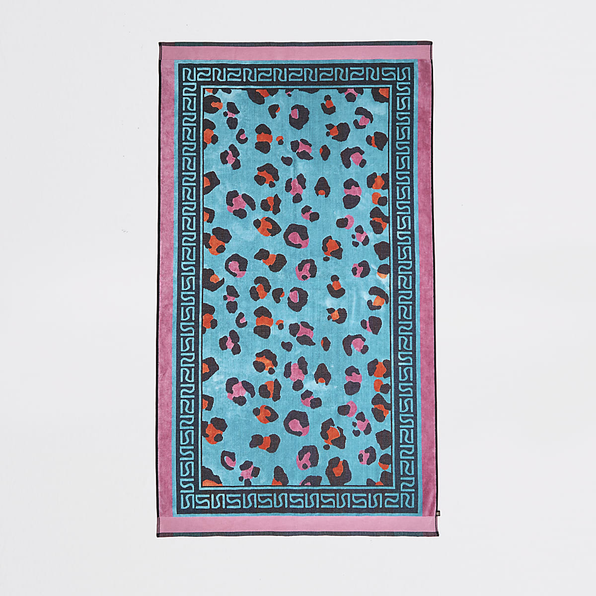 Blauwe jacquard handdoek met luipaardprint