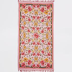 Serviette légère à fleurs rose avec pampilles
