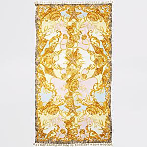 Shell print tassel lightweight towel