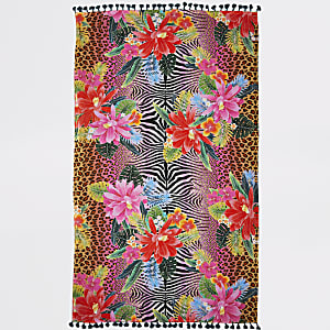 Serviette à imprimé animal et jungle rose légère