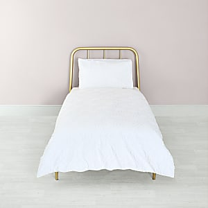 White geo textured single duvet bed set