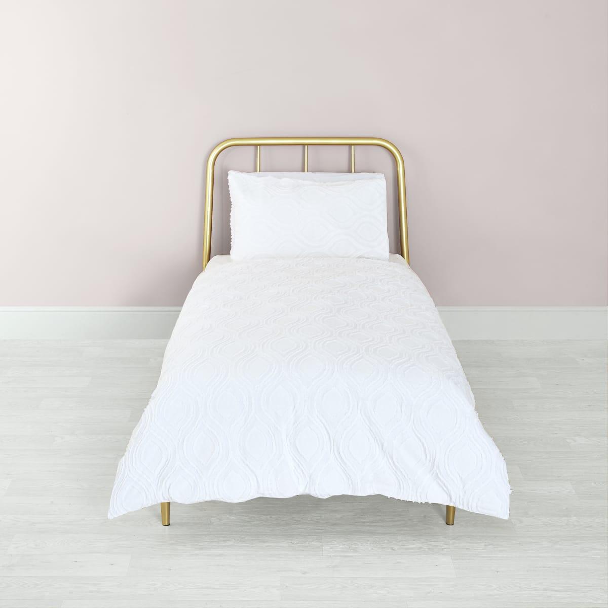 Parure de lit simple blanche à motif géométrique texturé