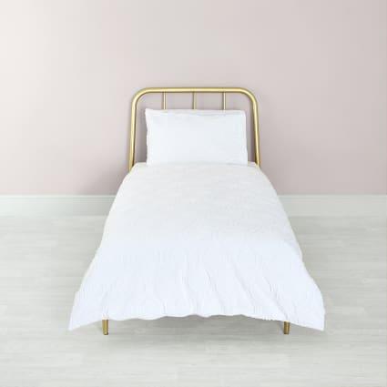 White geo textured single duvet bed set
