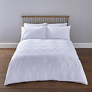 White geo textured king duvet bed set
