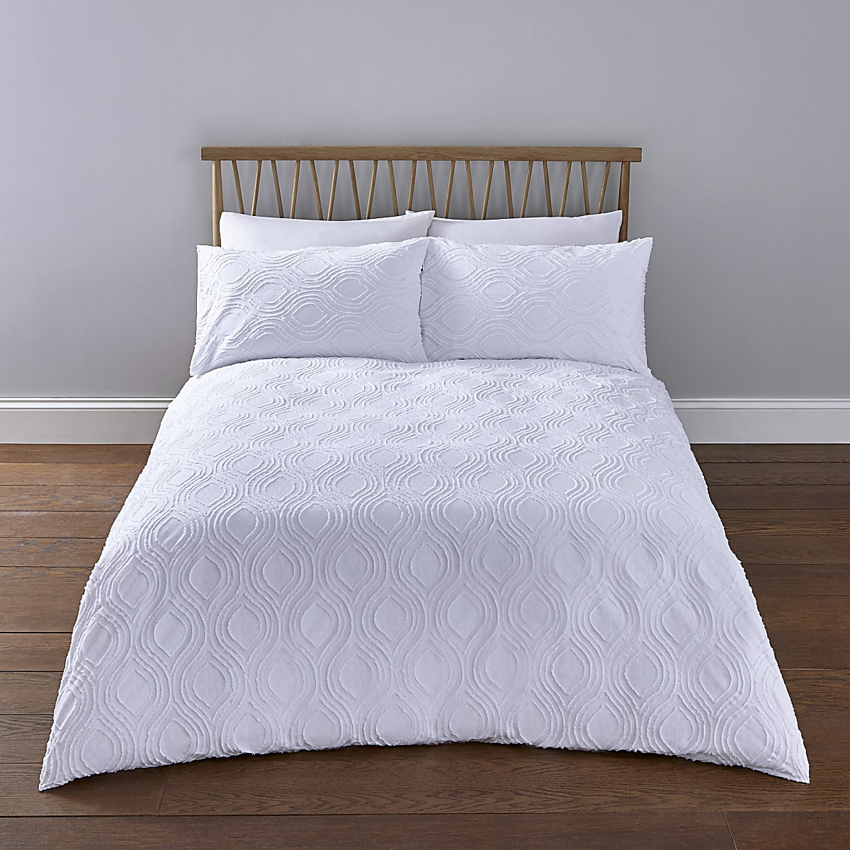 White Geo Textured Super King Duvet Bed Set Bed Sets