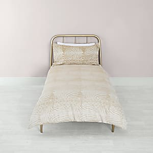 Steingraues Bettdecken-Set mit Zebra-Print