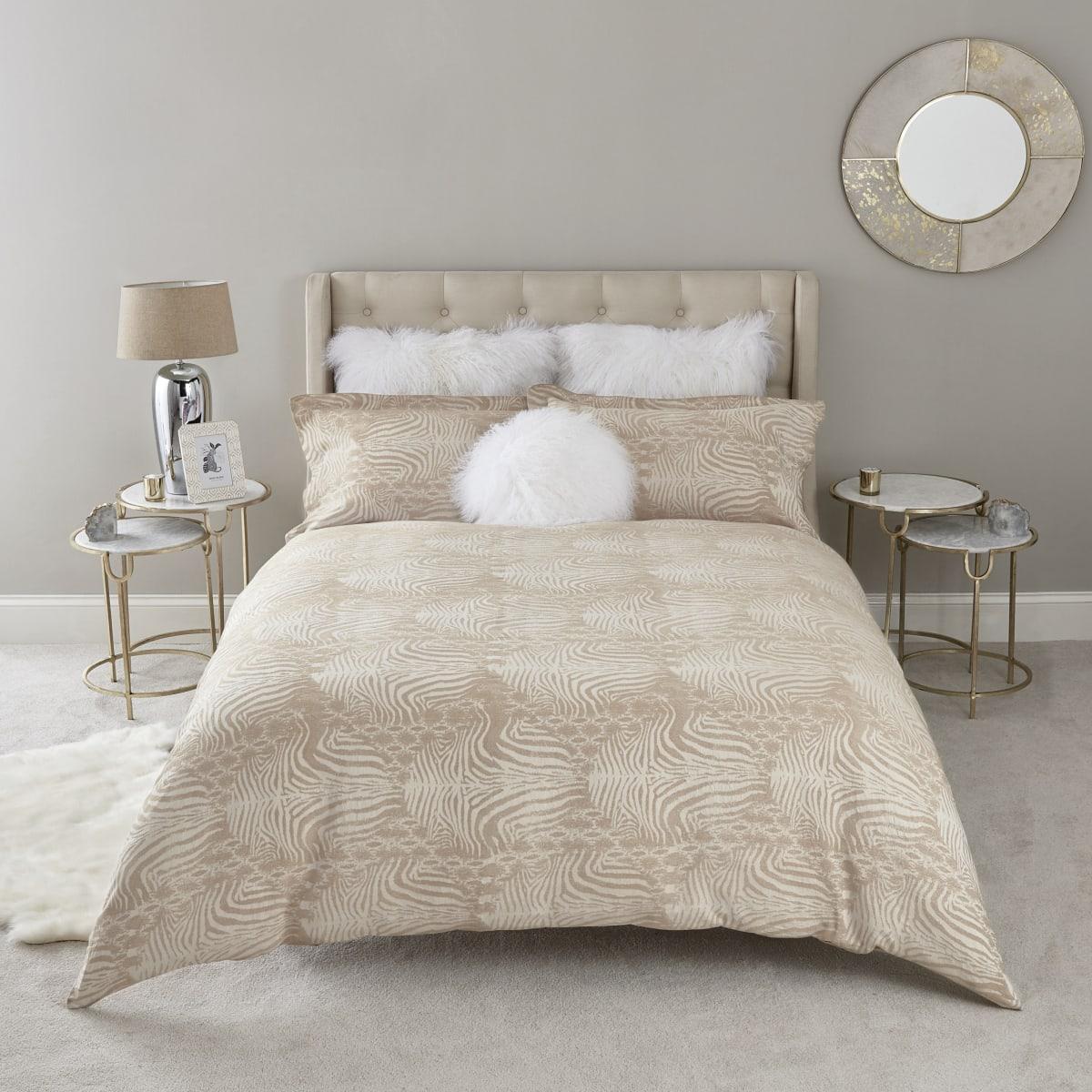 Parure de lit en jacquard à imprimé zèbre grège pour lit king size