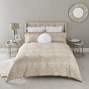 Parure de lit à imprimé zèbre grège pour lit super king size