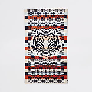 Orange tiger face print jacquard towel
