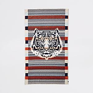 Oranje jacquard handdoek met tijgerkopprint