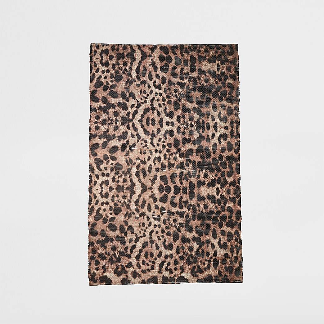 Recycled small brown leopard print rug