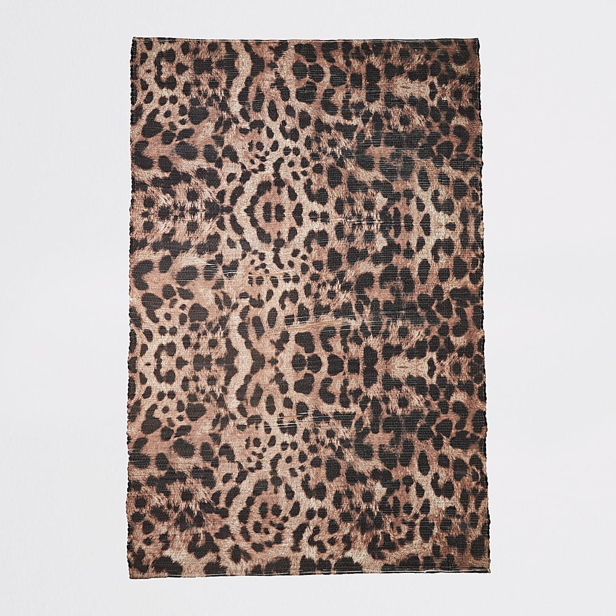 Gerecycled groot bruin vloerkleed met luipaardprint