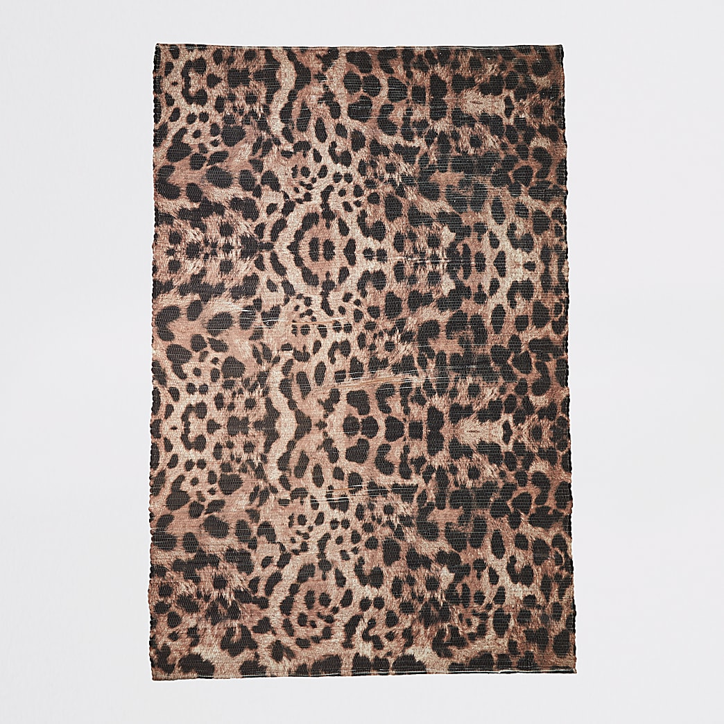 Recycled large brown leopard print rug
