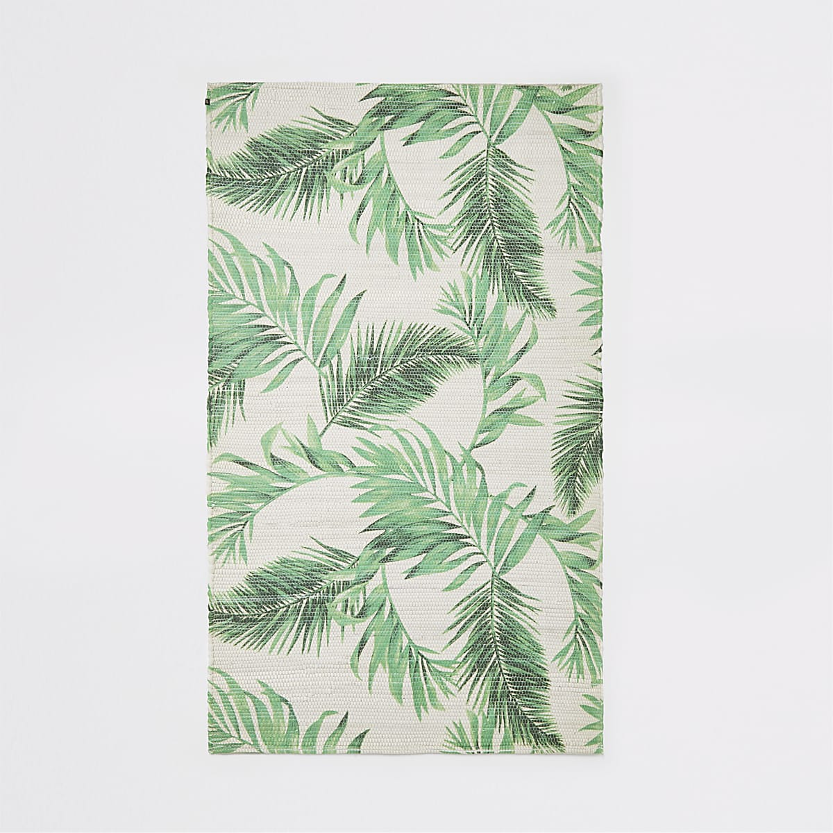 Handwoven recycled small green leaf print rug