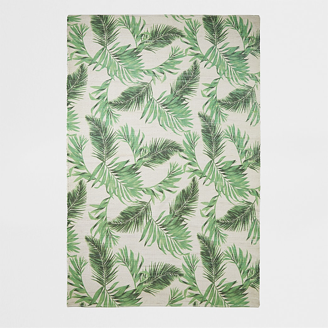 Grand tapis tissé main recyclé à imprimé feuillage vert