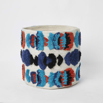 Small cream and blue tufted soft basket
