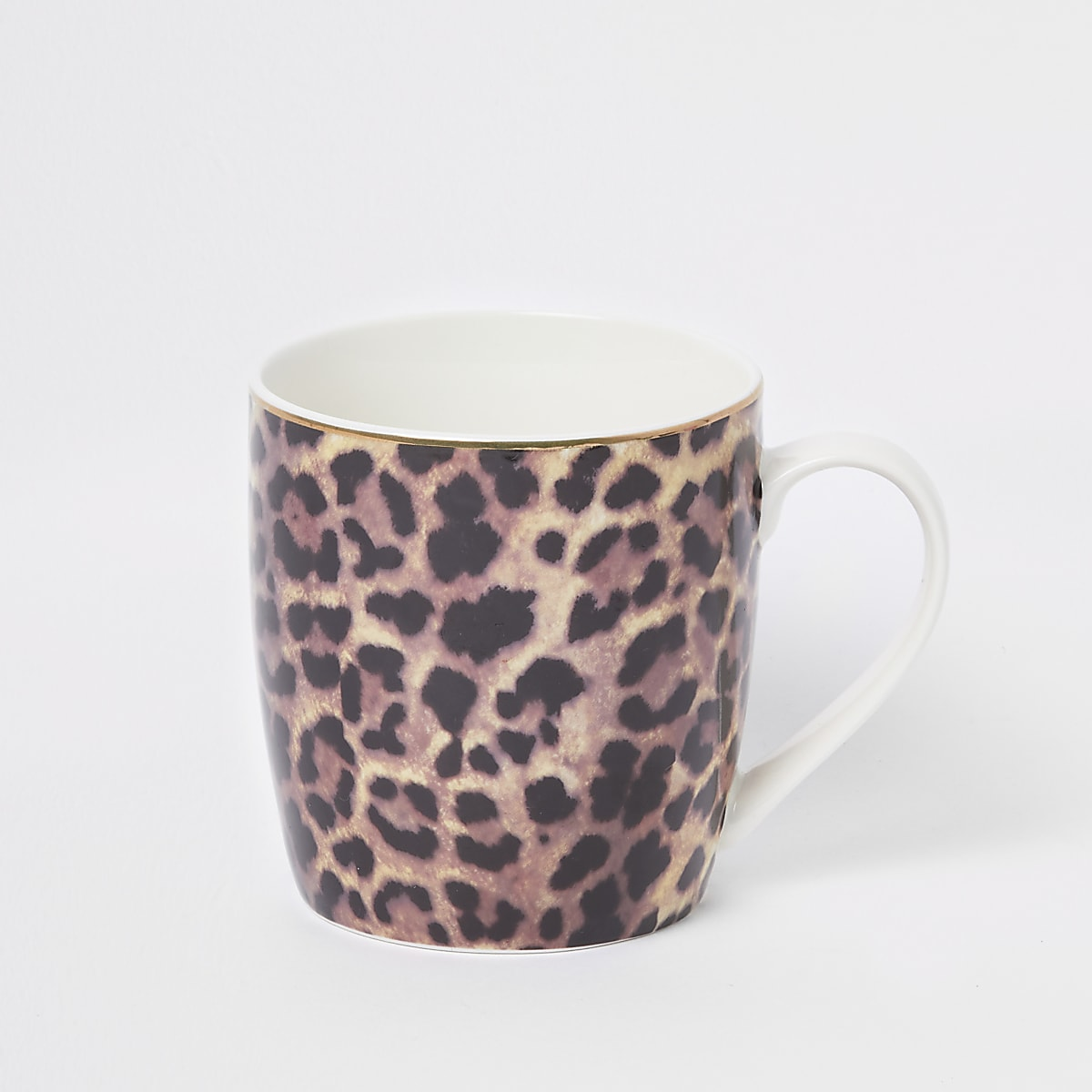 Brown leopard print tapered mug
