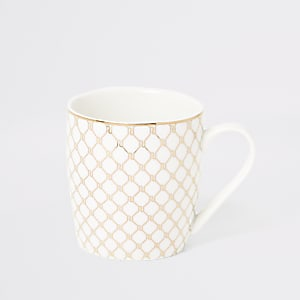 White RI monogram tapered mug