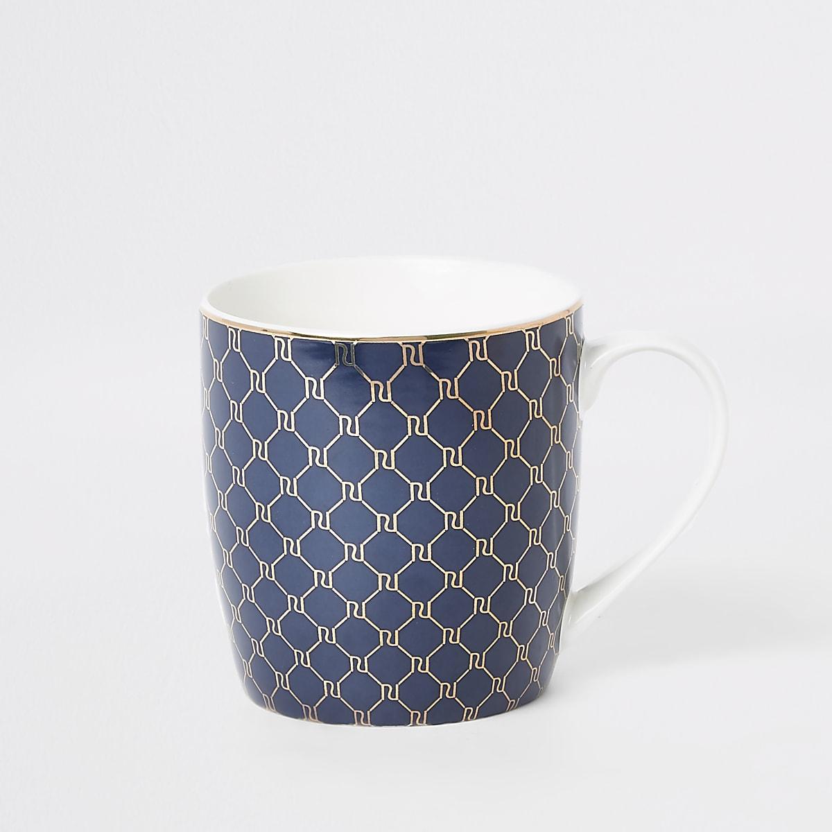 Navy RI monogram tapered mug