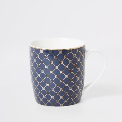 Navy RI monogram tapered mug
