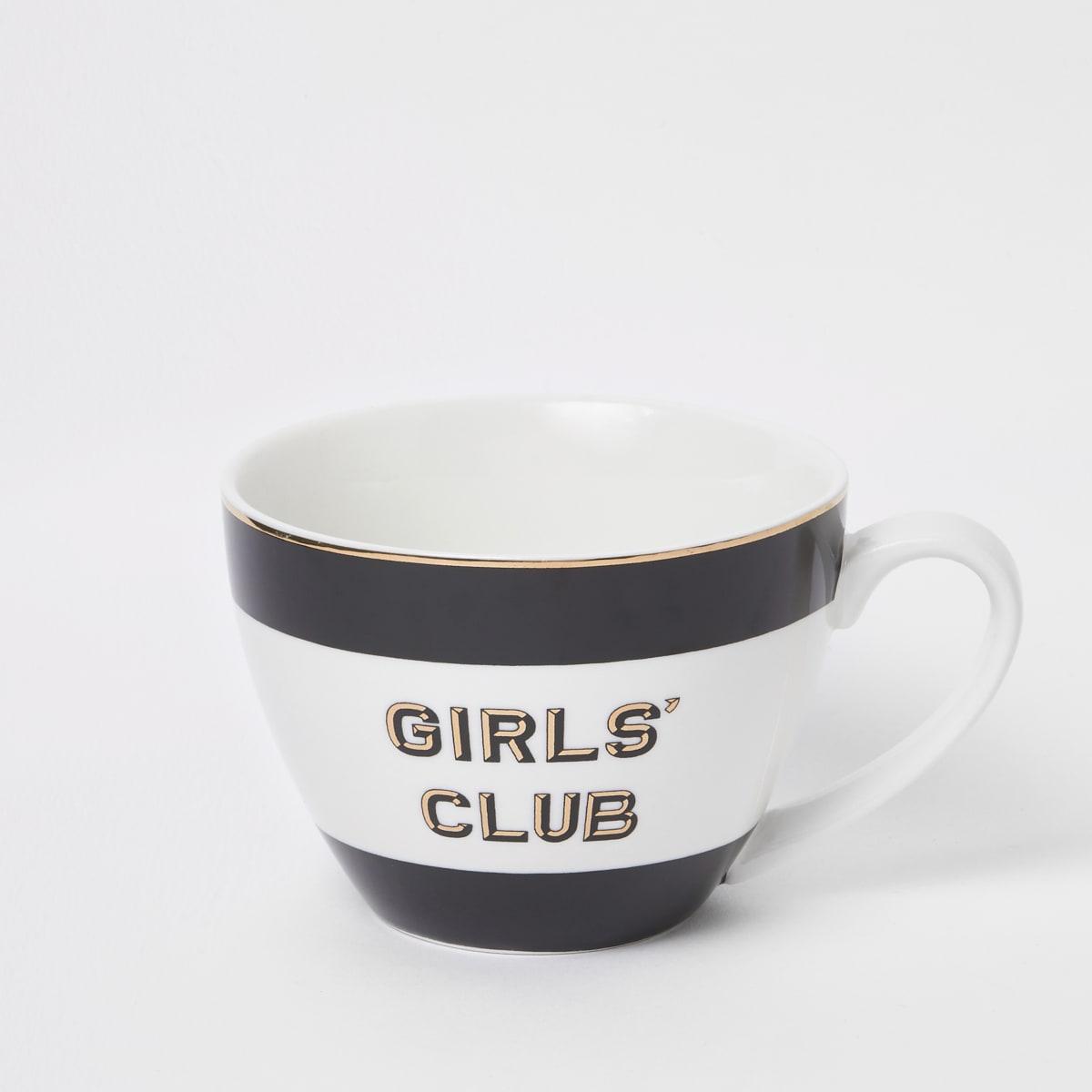 Zwarte mok met 'Girls club'-print