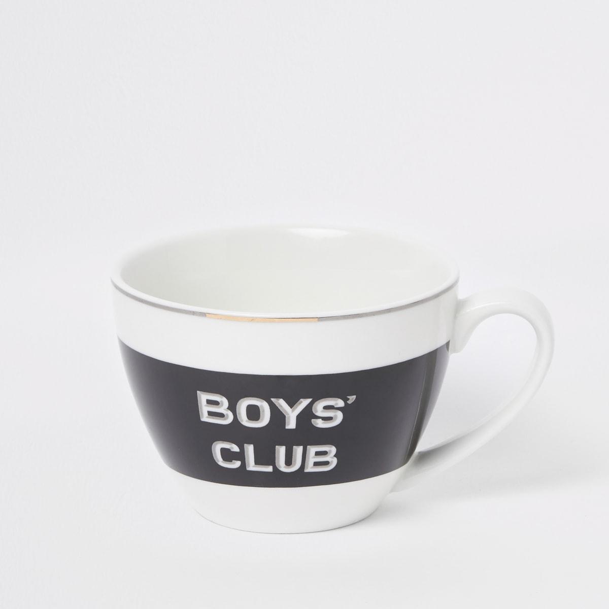 Zwarte mok met 'Boys club'-print