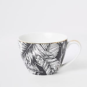 Black and white leaf print bowl mug