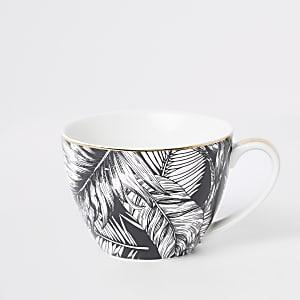 Tasse bol motif feuille noire et blanche