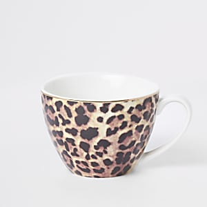 Brown leopard print bowl mug