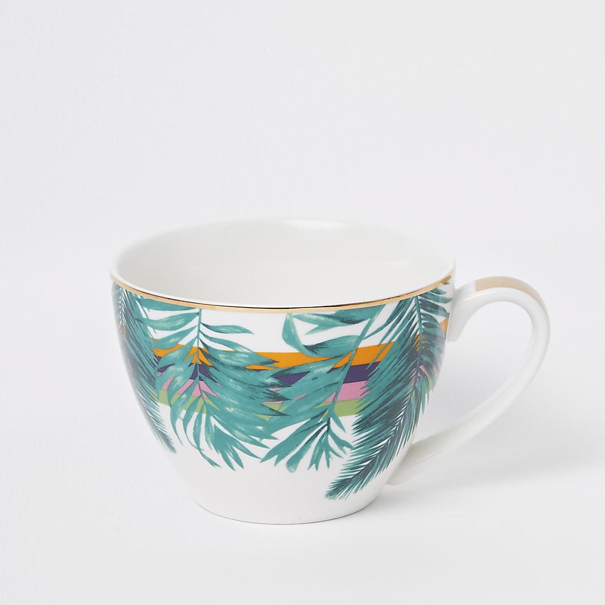 Green leaf print bowl mug