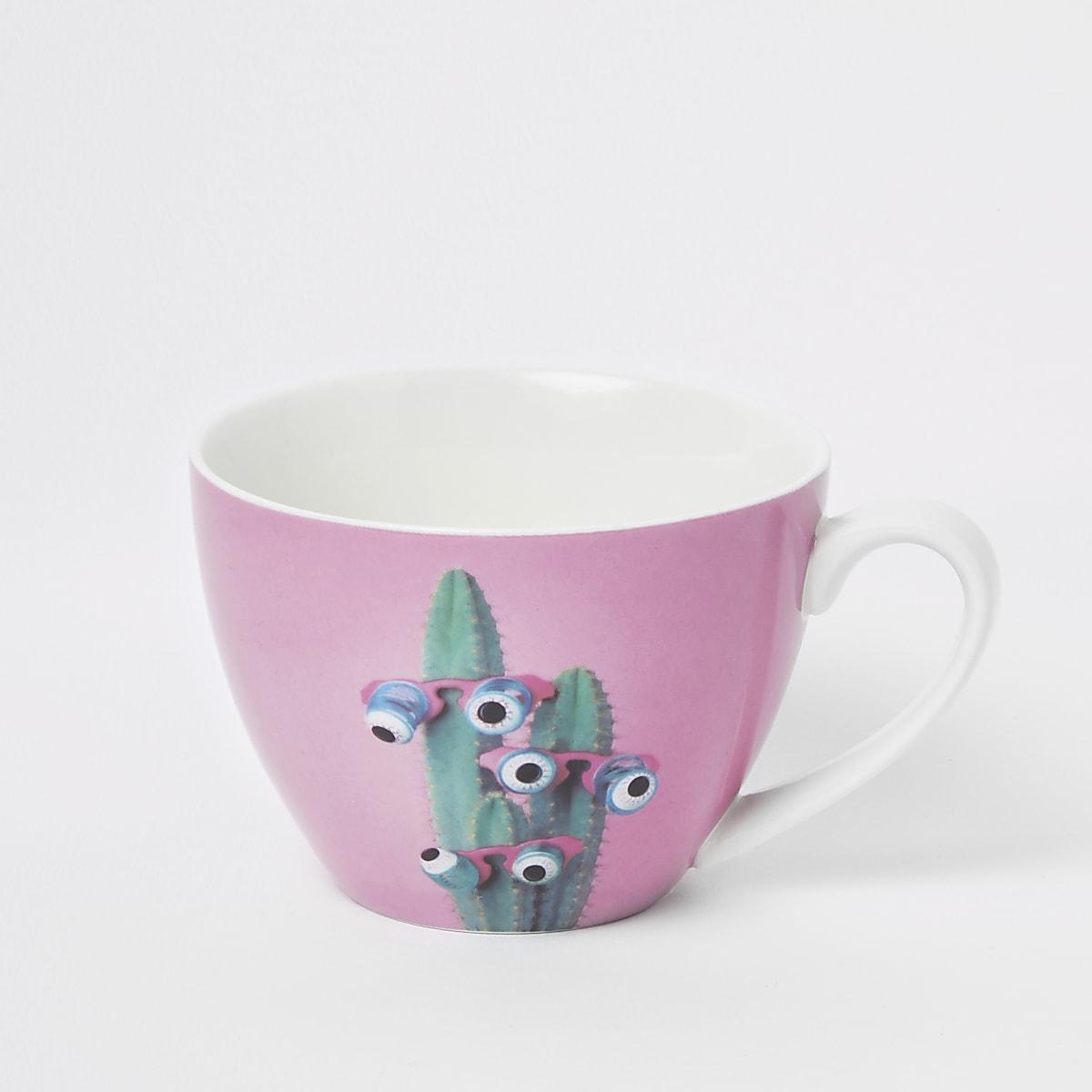 Pink cactus print bowl mug