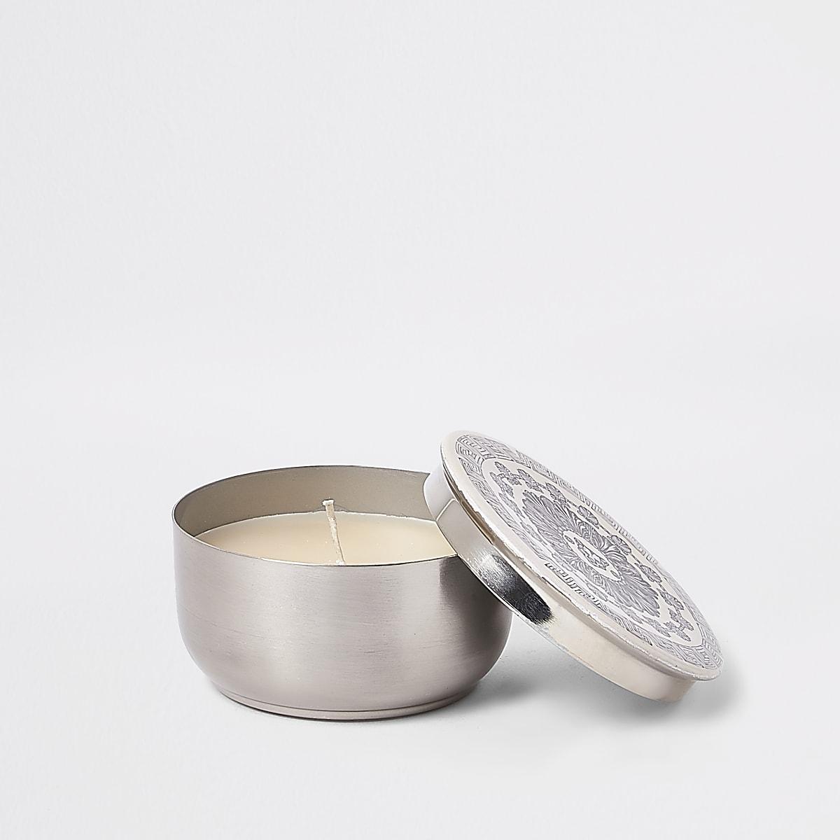 White medium panther print lid candle