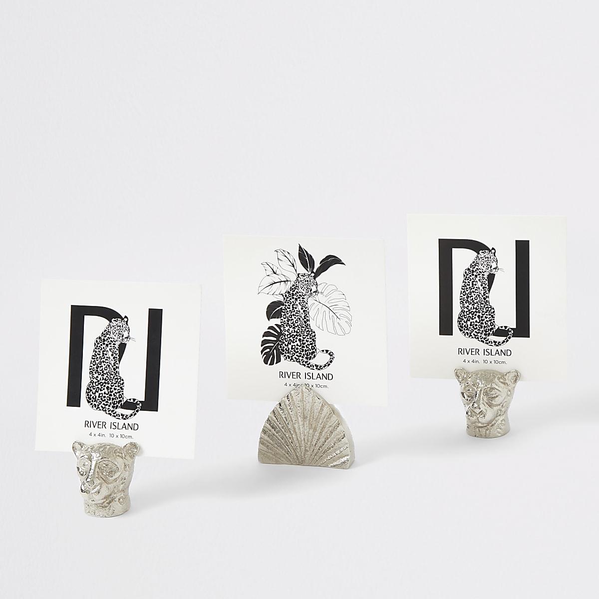 Set zilveren mini-dierenfotolijstjes