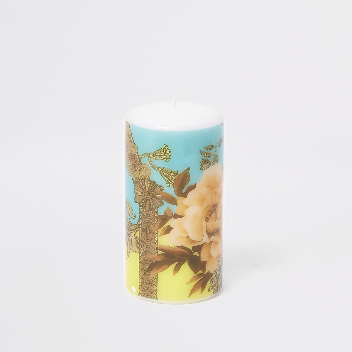 Turquoise pastel ornate printed candle