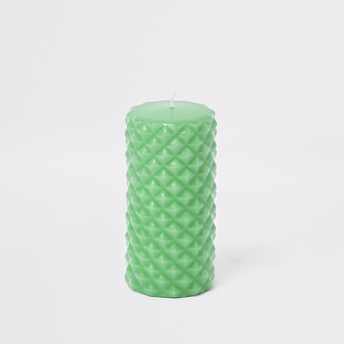 Green spike pillar candle