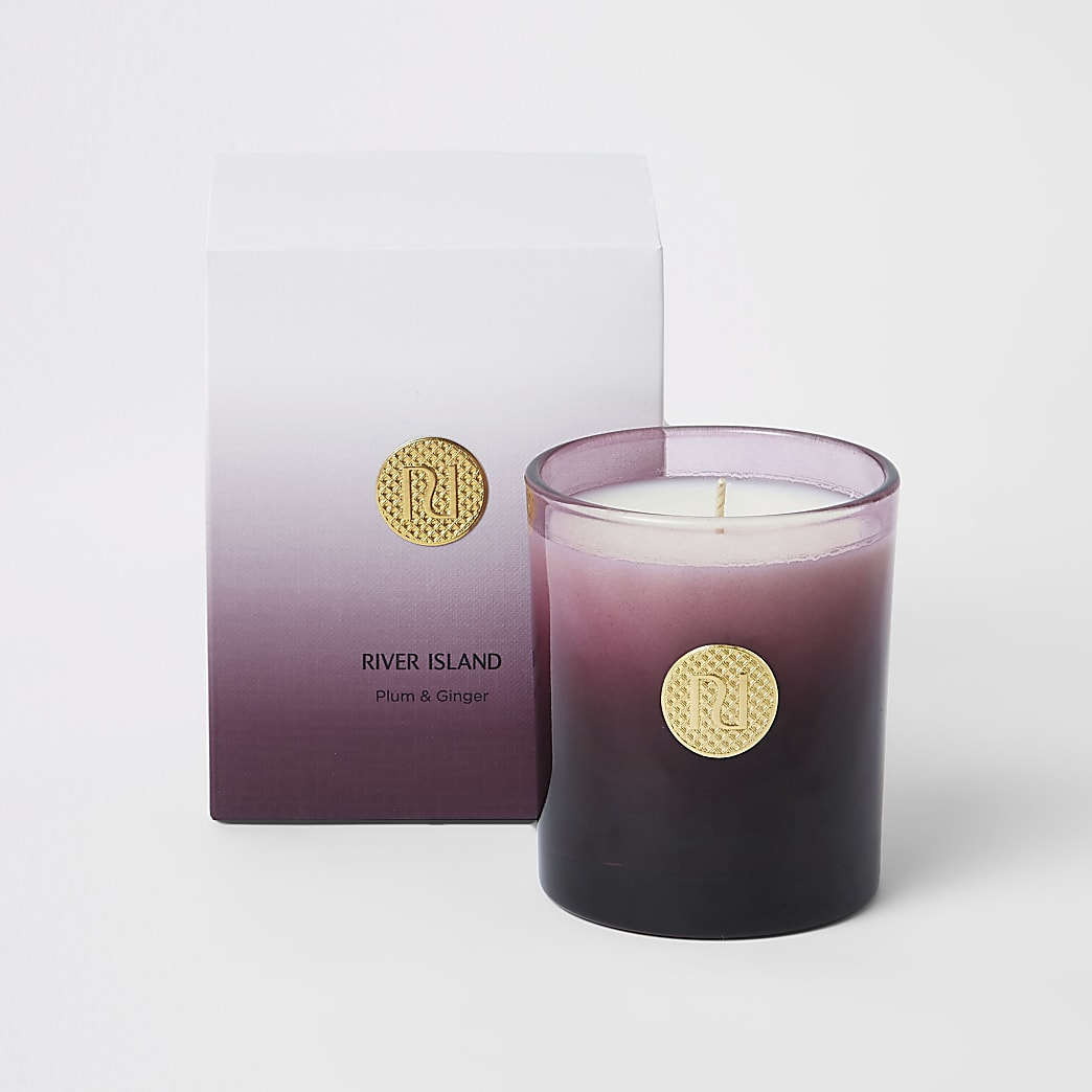 Purple plum & ginger scented ombre candle